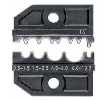 Lisovací profil pro neizolovaná dvojitá, potrubní a lisovaná kabelová oka podle DIN 46234 a DIN 46235 a neizolované dvojité, spojovací a lisované články podle DIN 46341 a DIN 46267